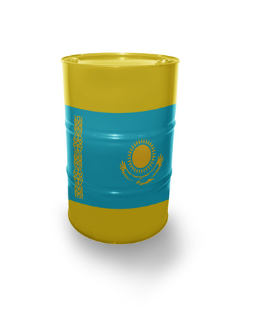 fuel provider: Barrel with Kazakhstan flag on the white background