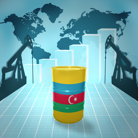fuel provider: Oil barrel with Azerbaijani flag on the background of the world map with oil derricks and growth chart