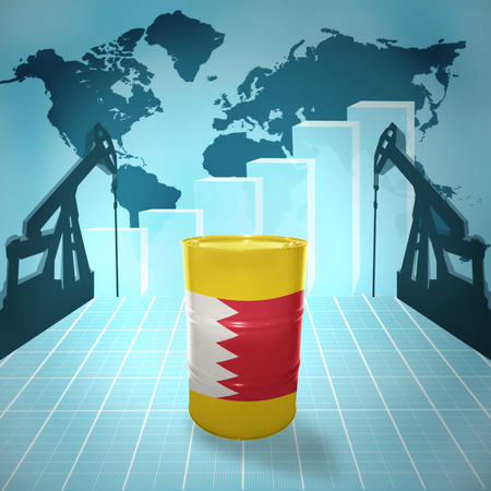 fuel provider: Oil barrel with Bahraini flag on the background of the world map with oil derricks and growth chart