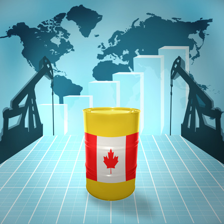 fuel provider: Oil barrel with Canadian flag on the background of the world map with oil derricks and growth chart