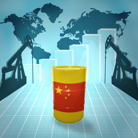 fuel provider: Oil barrel with Chinese flag on the background of the world map with oil derricks and growth chart Stock Photo