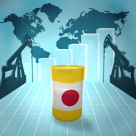 fuel provider: Oil barrel with Japanese flag on the background of the world map with oil derricks and growth chart Stock Photo