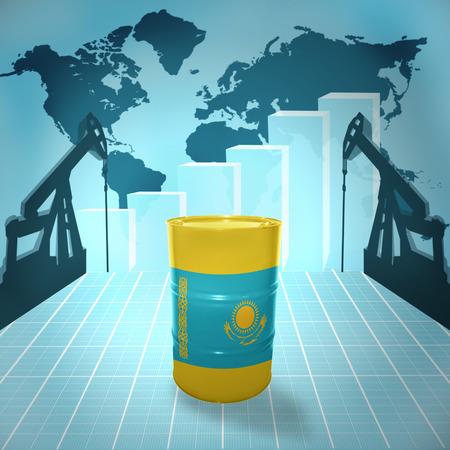 fuel provider: Oil barrel with Kazakhstan flag on the background of the world map with oil derricks and growth chart