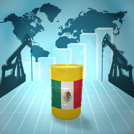 fuel provider: Oil barrel with Mexican flag on the background of the world map with oil derricks and growth chart