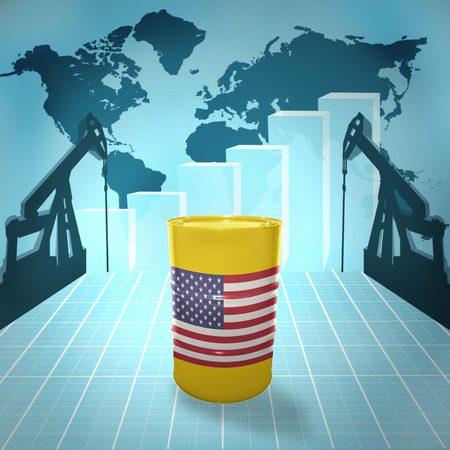 fuel provider: Oil barrel with United States of America flag on the background of the world map with oil derricks and growth chart Stock Photo