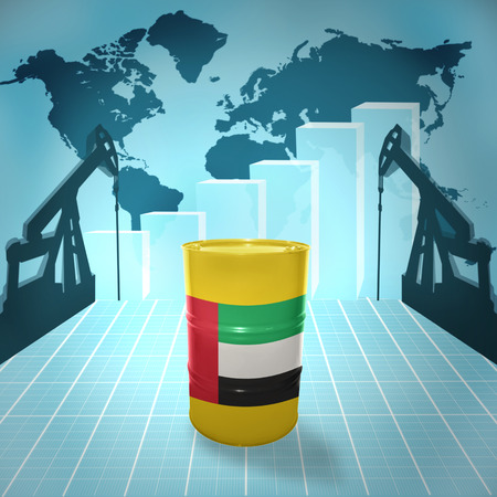 chemical industry: Oil barrel with United Arab Emirates flag on the background of the world map with oil derricks and growth chart Stock Photo