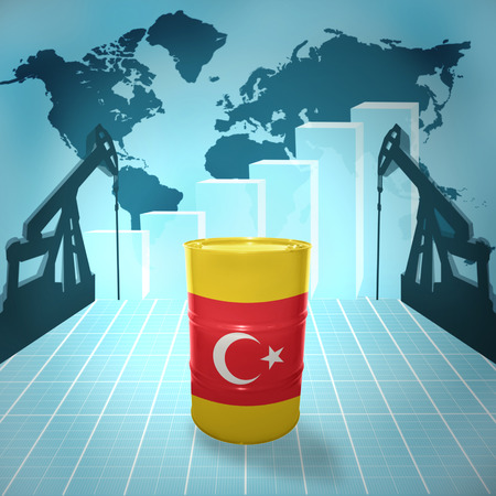 fuel provider: Oil barrel with Turkish flag on the background of the world map with oil derricks and growth chart