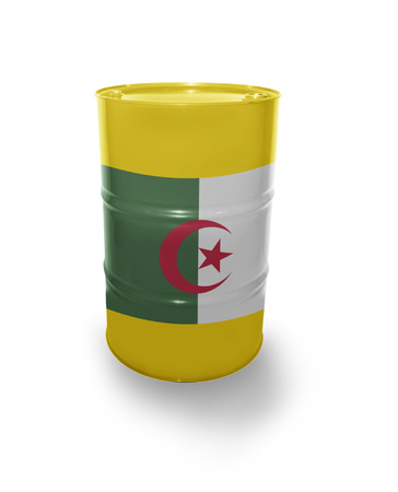 fuel provider: Barrel with Algerian flag on the white background