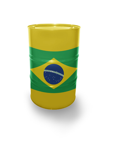 fuel provider: Barrel with Brazilian flag on the white background Stock Photo