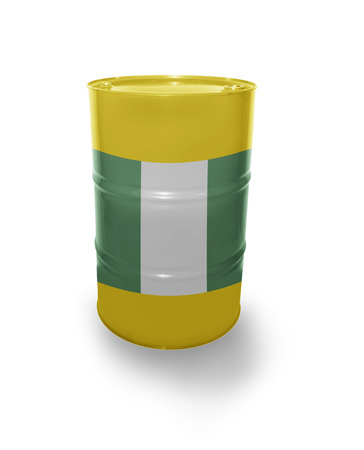 fuel provider: Barrel with Nigerian flag on the white background Stock Photo