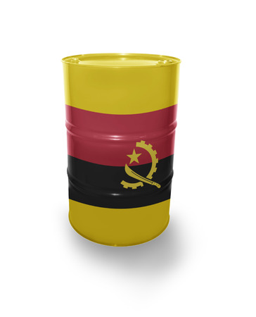 fuel provider: Barrel with Angolan flag on the white background