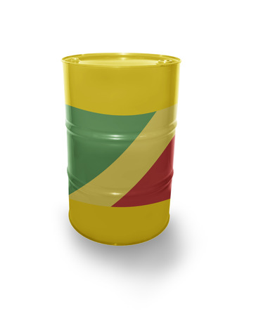 fuel provider: Barrel with Republic of the Congo flag on the white background