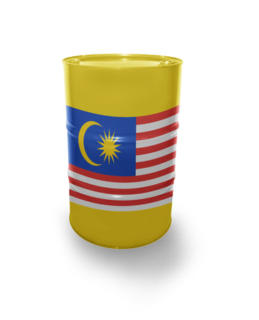 fuel provider: Barrel with Malaysian flag on the white background