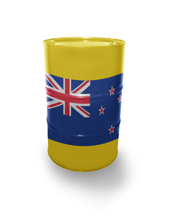 fuel provider: Barrel with New Zealand flag on the white background Stock Photo