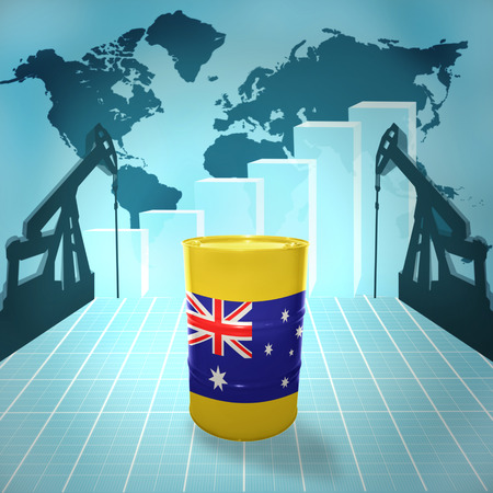 fuel provider: Oil barrel with Australian flag on the background of the world map with oil derricks and growth chart