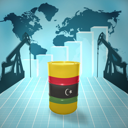libyan: Oil barrel with Libyan flag on the background of the world map with oil derricks and growth chart