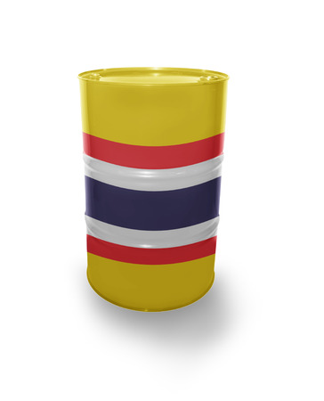 fuel provider: Barrel with Thailand flag on the white background Stock Photo