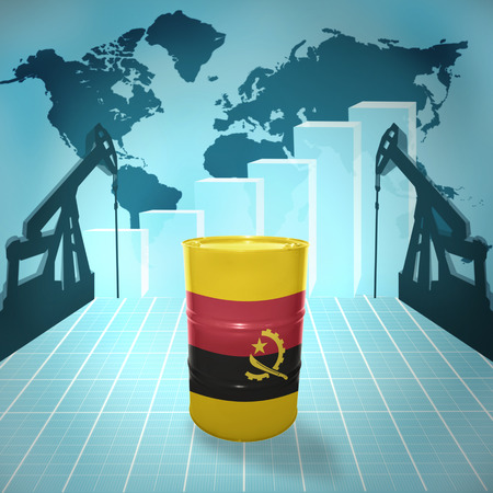 fuel provider: Oil barrel with Angolan flag on the background of the world map with oil derricks and growth chart
