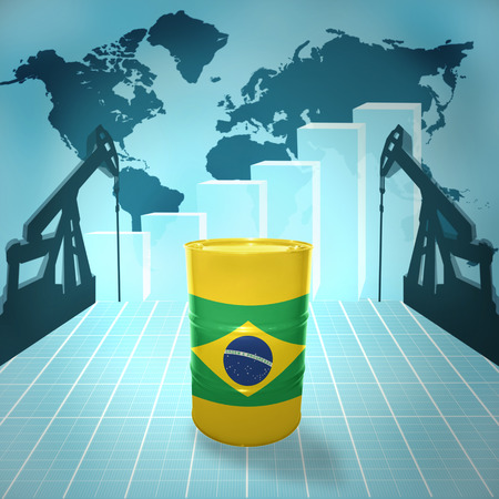 fuel provider: Oil barrel with Brazilian flag on the background of the world map with oil derricks and growth chart Stock Photo