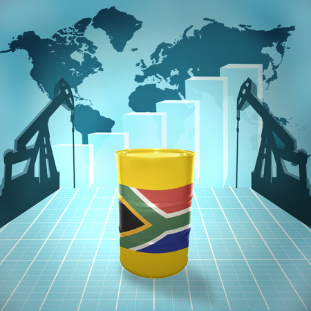 fuel provider: Oil barrel with South Africa flag on the background of the world map with oil derricks and growth chart