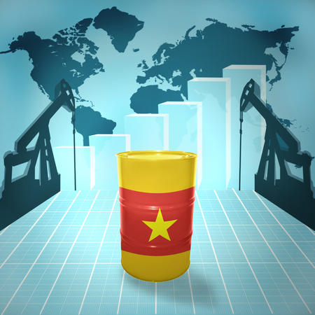 fuel provider: Oil barrel with Vietnamese flag on the background of the world map with oil derricks and growth chart