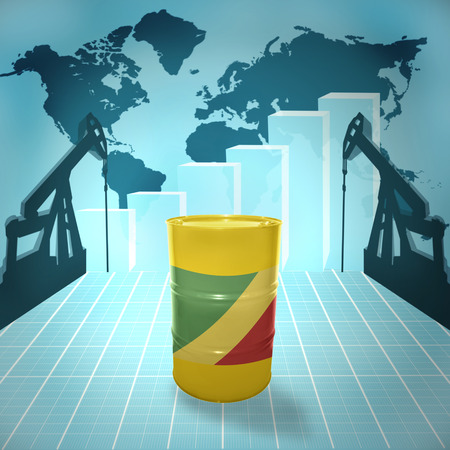 fuel provider: Oil barrel with Republic of the Congo flag on the background of the world map with oil derricks and growth chart Stock Photo