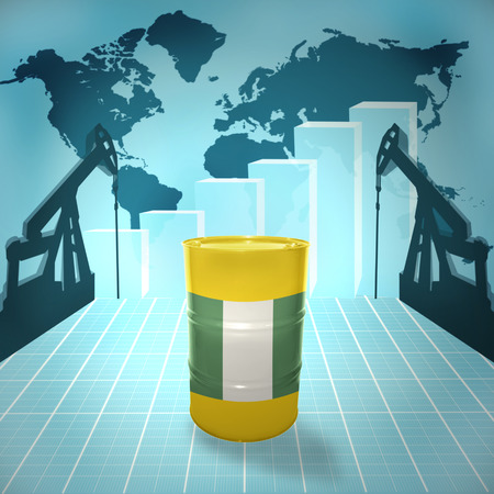 fuel provider: Oil barrel with Nigerian flag on the background of the world map with oil derricks and growth chart