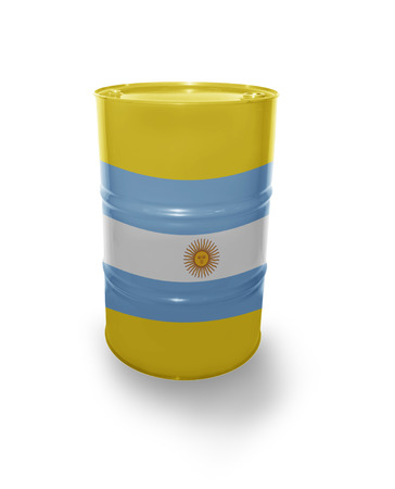 fuel provider: Barrel with Argentinean flag on the white background Stock Photo