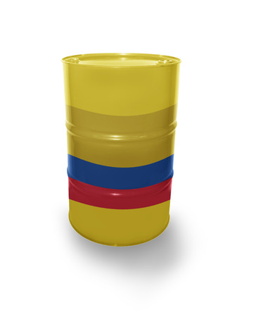 fuel provider: Barrel with Colombian flag on the white background