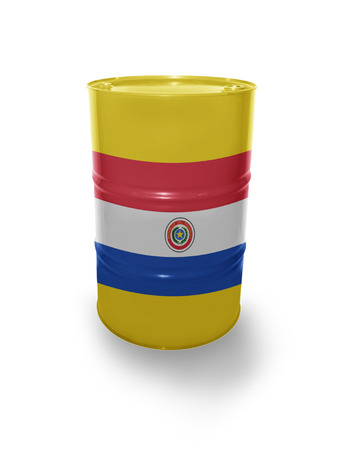fuel provider: Barrel with Paraguayan flag on the white background