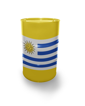 fuel provider: Barrel with Uruguayan flag on the white background