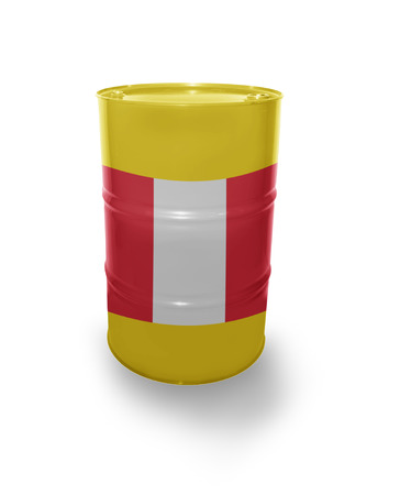 fuel provider: Barrel with Peruvian flag on the white background Stock Photo