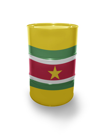 fuel provider: Barrel with Surinamese flag on the white background