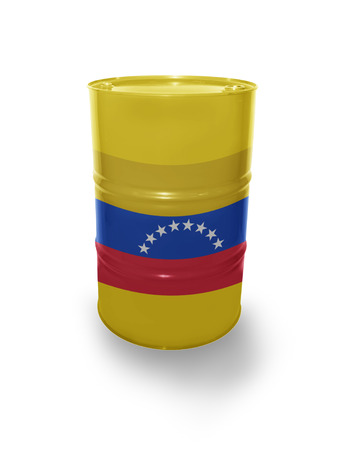 fuel provider: Barrel with Venezuelan flag on the white background