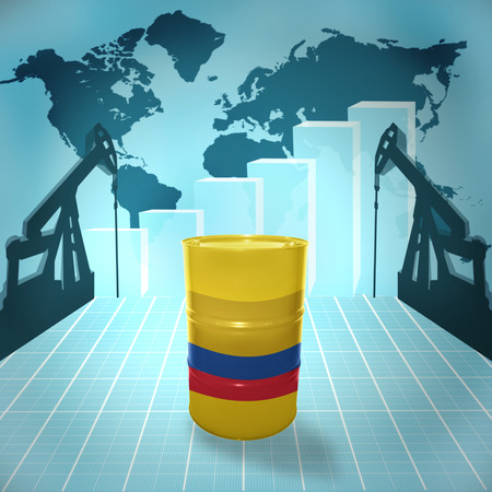 fuel provider: Oil barrel with Colombian flag on the world map with oil derricks and growth chart
