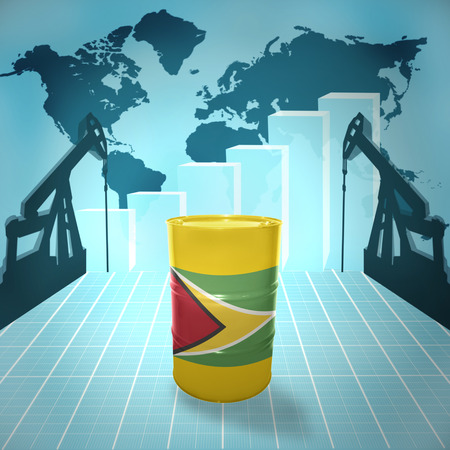 fuel provider: Oil barrel with Guyanese flag on the world map with oil derricks and growth chart Stock Photo
