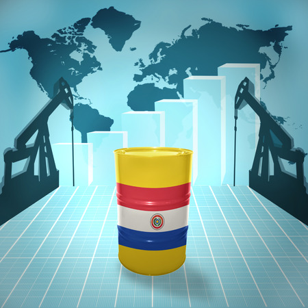 fuel provider: Oil barrel with Paraguayan flag on the world map with oil derricks and growth chart