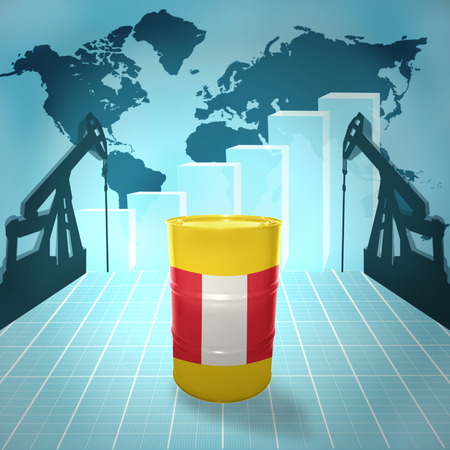fuel provider: Oil barrel with Peruvian flag on the world map with oil derricks and growth chart