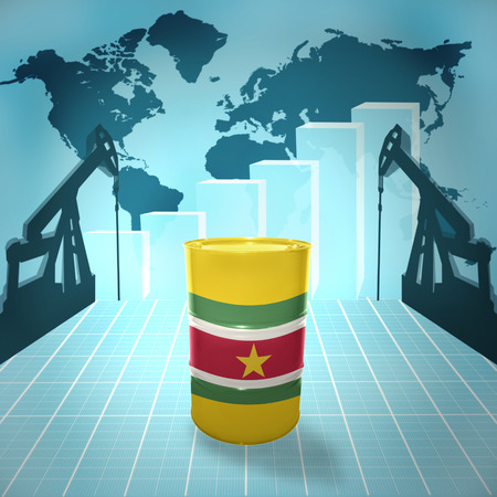 fuel provider: Oil barrel with Surinamese flag on the world map with oil derricks and growth chart
