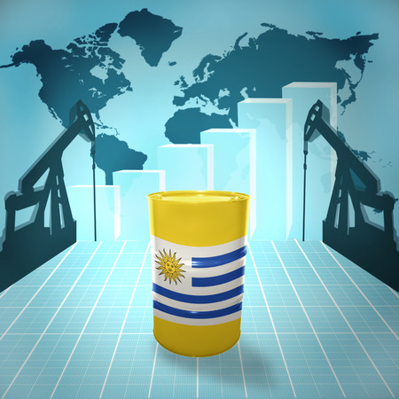 fuel provider: Oil barrel with Uruguayan flag on the world map with oil derricks and growth chart