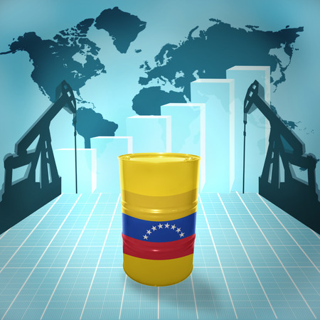fuel provider: Oil barrel with Venezuelan flag on the world map with oil derricks and growth chart
