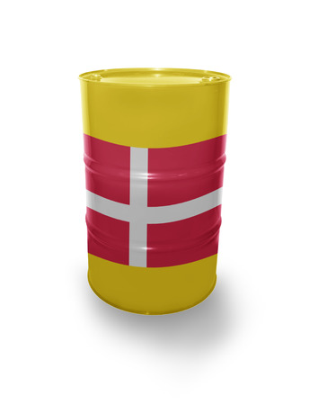fuel provider: Barrel with Danish flag on the white background