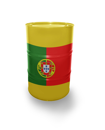 fuel provider: Barrel with Portuguese flag on the white background