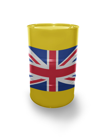 fuel provider: Barrel with British flag on the white background Stock Photo