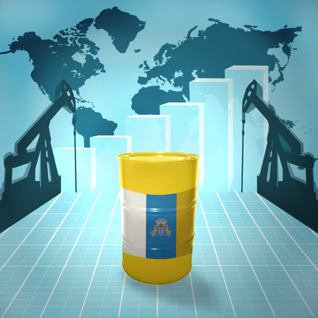fuel provider: Oil barrel with Canarian flag on the world map with oil derricks and growth chart