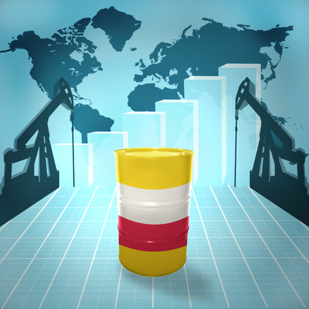 fuel provider: Oil barrel with Polish flag on the world map with oil derricks and growth chart