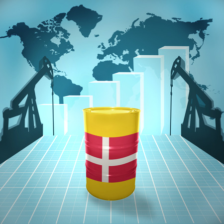 fuel provider: Oil barrel with Danish flag on the world map with oil derricks and growth chart