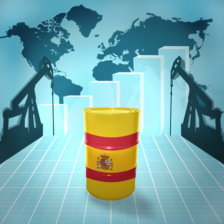fuel provider: Oil barrel with Spanish flag on the world map with oil derricks and growth chart