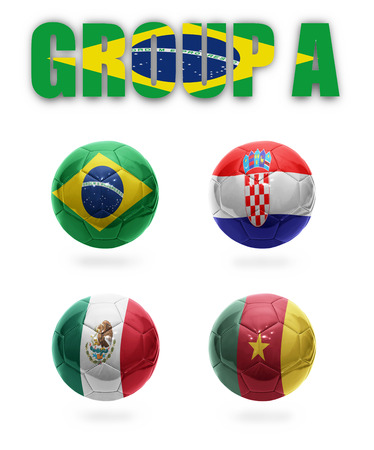 Brazil  Group A  Realistic  Football balls with national flags of Brazil, Croatia, Mexico, Cameroon photo