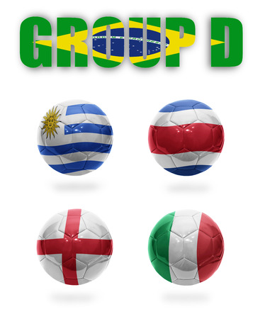 Brazil  Group D  Realistic Football balls with national flags of Uruguay, Costa Rica, England, Italy photo